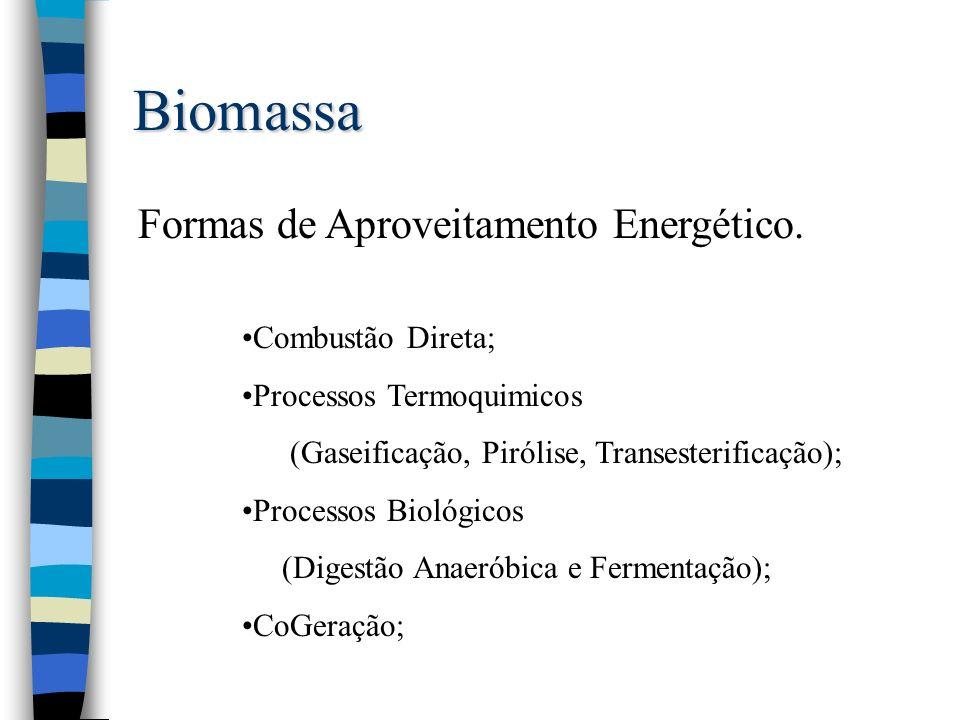 Biomassa Formas de Aproveitamento Energético. Combustão Direta; Processos Termoquimicos (Gaseificação, Pirólise, Transesterificação); Processos Biológ