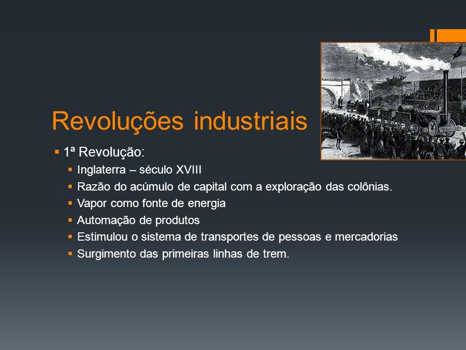 Revoluções industriais 2ª Revolução 1860 Alterações no processo de industrialização.
