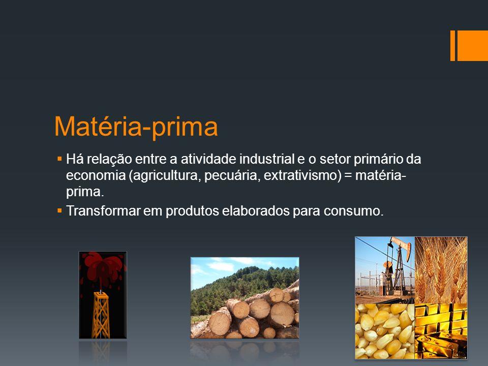 Ramos industriais INDÚSTRIAS DE BENS DE CAPITAL, DE PRODUÇÃO OU DE BASE: Indústria que trabalha com a matéria-prima bruta, transformando- a para outras indústrias.