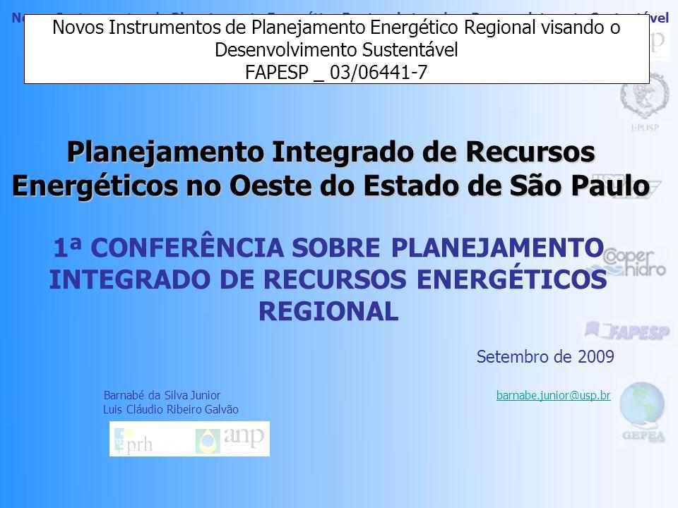 Novos Instrumentos de Planejamento Energético Regional visando o Desenvolvimento Sustentável Planejamento Integrado de Recursos Energéticos no Oeste do Estado de São Paulo Novos Instrumentos de Planejamento Energético Regional visando o Desenvolvimento Sustentável FAPESP _ 03/06441-7 1ª CONFERÊNCIA SOBRE PLANEJAMENTO INTEGRADO DE RECURSOS ENERGÉTICOS REGIONAL Setembro de 2009 Barnabé da Silva Junior barnabe.junior@usp.brbarnabe.junior@usp.br Luis Cláudio Ribeiro Galvão