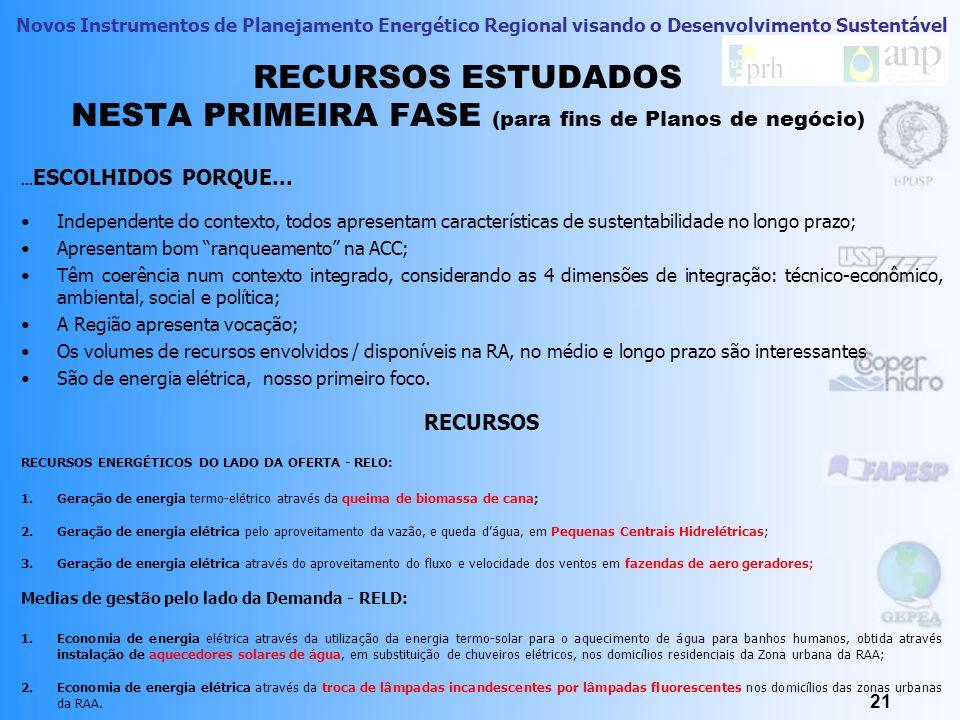 Novos Instrumentos de Planejamento Energético Regional visando o Desenvolvimento Sustentável DESENHOU-SE CENÁRIOS DE OFERTA E DEMANDA 20 A.Tendencial; B.Sustentável; C.Primoroso; D.Otimista.