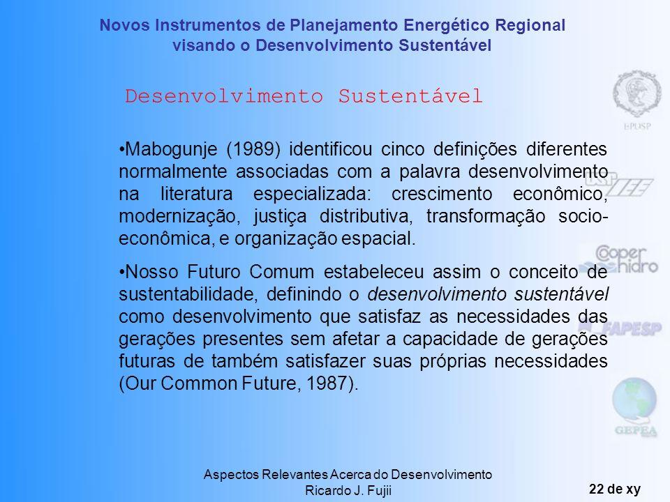 Novos Instrumentos de Planejamento Energético Regional visando o Desenvolvimento Sustentável Aspectos Relevantes Acerca do Desenvolvimento Ricardo J.