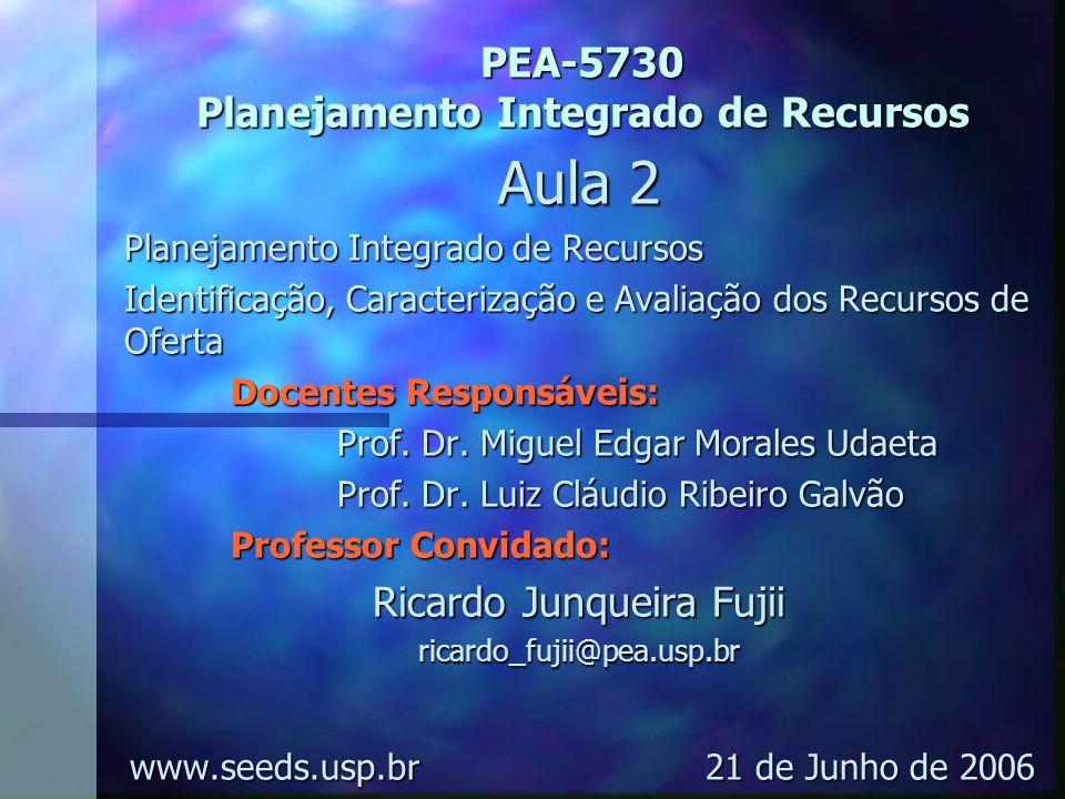 PEA-5730 Planejamento Integrado de Recursos Aula 2 Planejamento Integrado de Recursos Identificação, Caracterização e Avaliação dos Recursos de Oferta