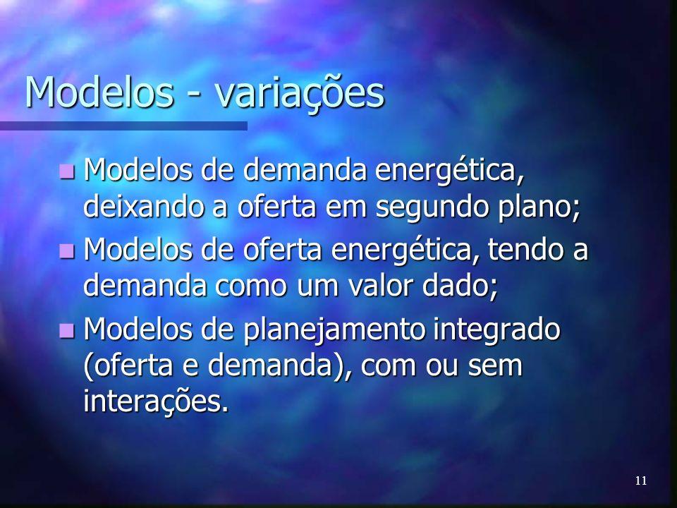 11 Modelos - variações Modelos de demanda energética, deixando a oferta em segundo plano; Modelos de demanda energética, deixando a oferta em segundo