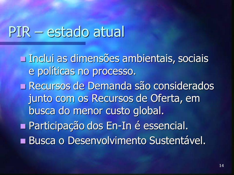 14 PIR – estado atual Inclui as dimensões ambientais, sociais e políticas no processo. Inclui as dimensões ambientais, sociais e políticas no processo