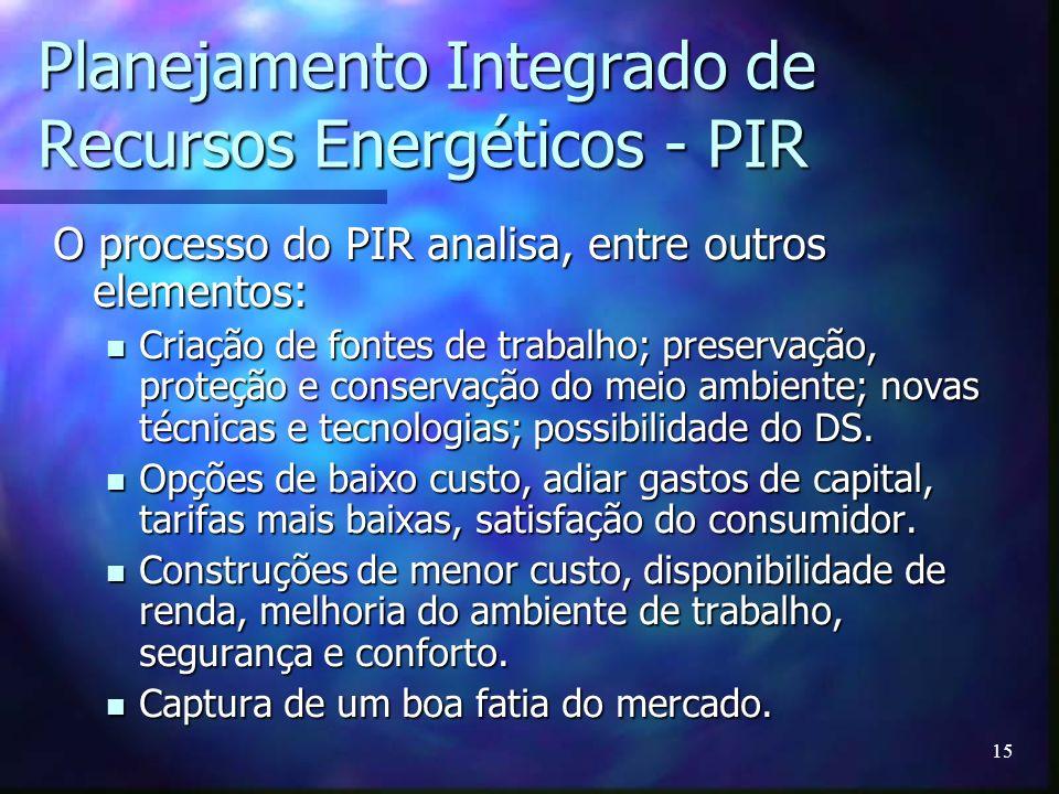 15 Planejamento Integrado de Recursos Energéticos - PIR O processo do PIR analisa, entre outros elementos: Criação de fontes de trabalho; preservação,
