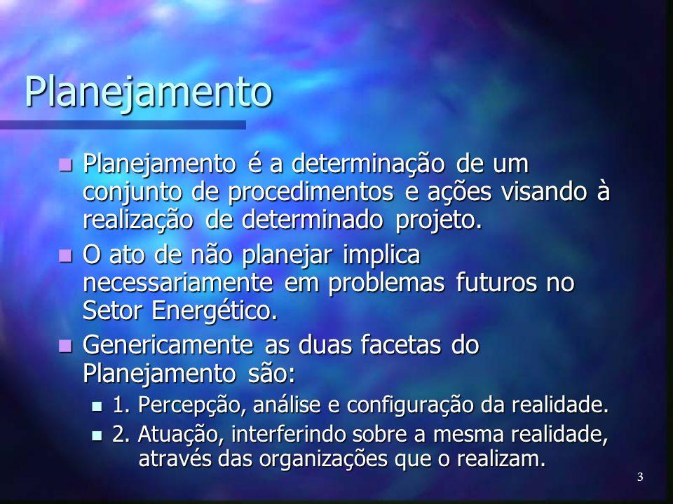 3 Planejamento Planejamento é a determinação de um conjunto de procedimentos e ações visando à realização de determinado projeto. Planejamento é a det