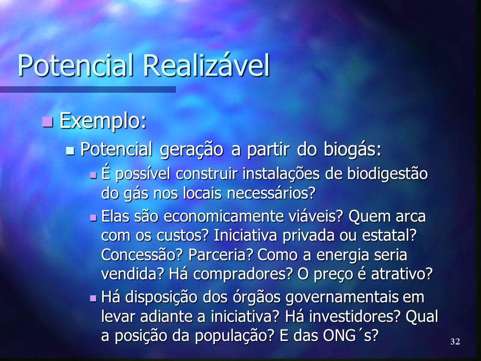32 Potencial Realizável Exemplo: Exemplo: Potencial geração a partir do biogás: Potencial geração a partir do biogás: É possível construir instalações
