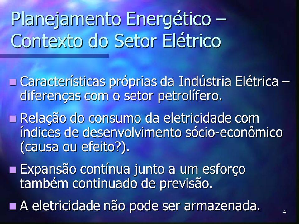 4 Planejamento Energético – Contexto do Setor Elétrico Características próprias da Indústria Elétrica – diferenças com o setor petrolífero. Caracterís