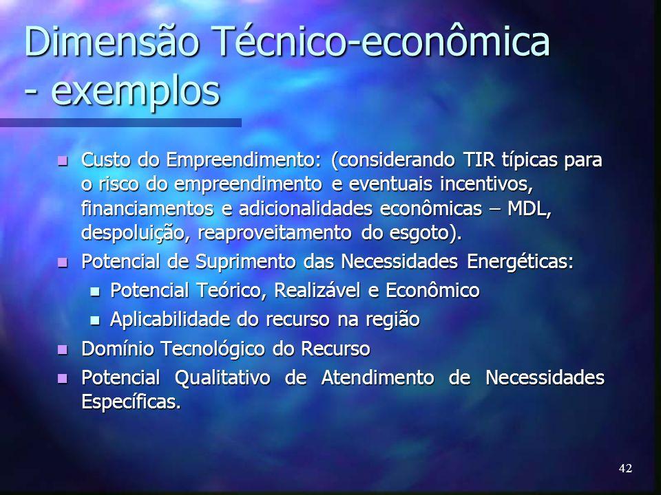 42 Dimensão Técnico-econômica - exemplos Custo do Empreendimento: (considerando TIR típicas para o risco do empreendimento e eventuais incentivos, fin
