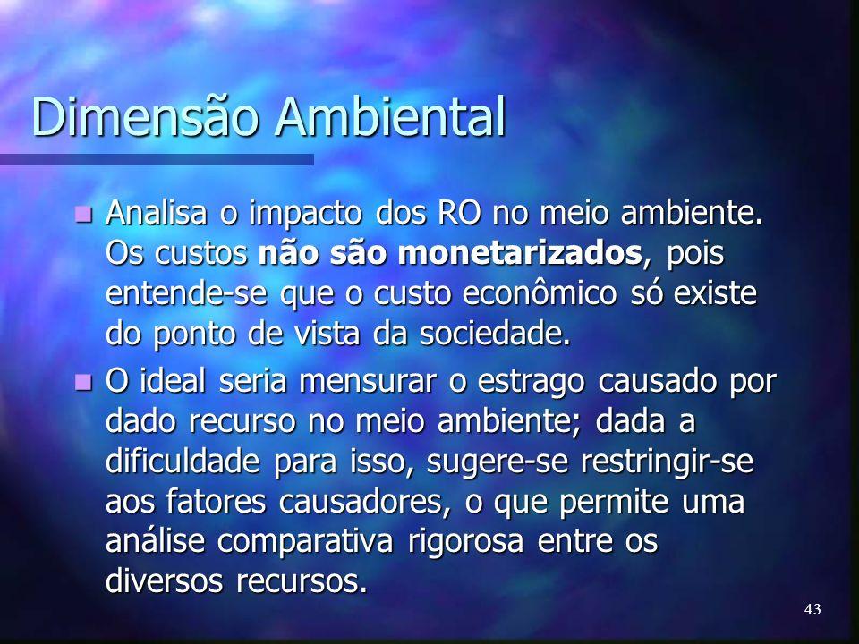43 Dimensão Ambiental Analisa o impacto dos RO no meio ambiente. Os custos não são monetarizados, pois entende-se que o custo econômico só existe do p