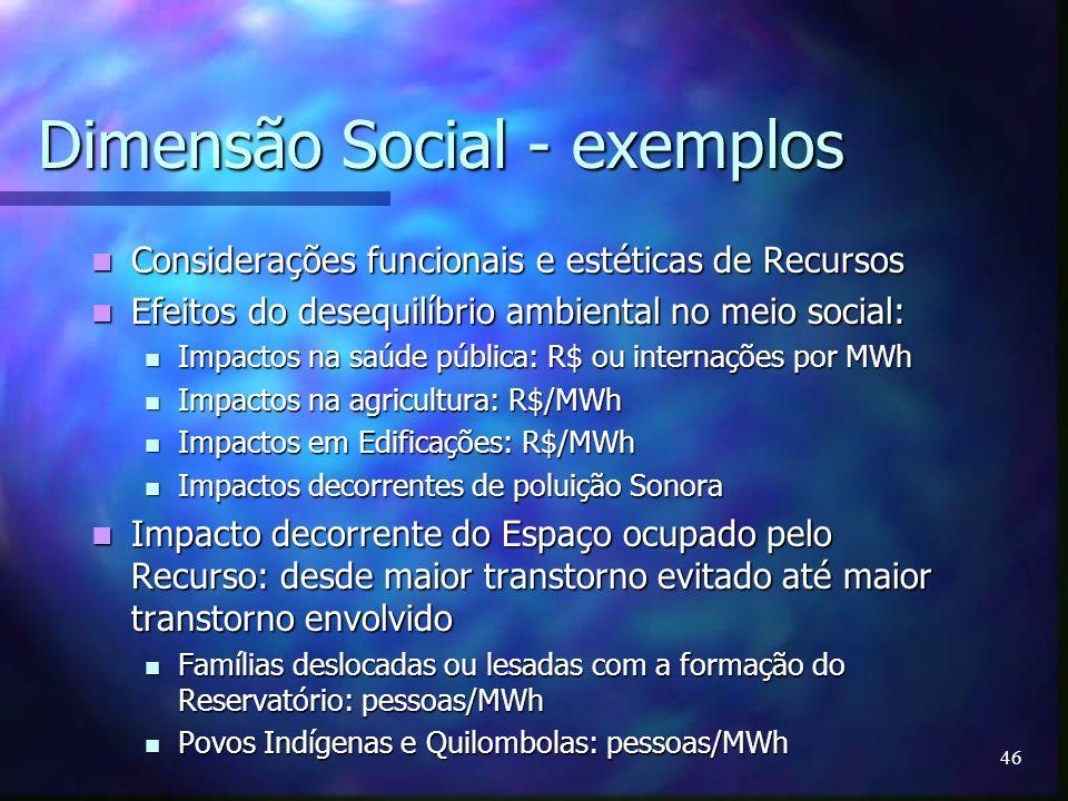 46 Dimensão Social - exemplos Considerações funcionais e estéticas de Recursos Considerações funcionais e estéticas de Recursos Efeitos do desequilíbr