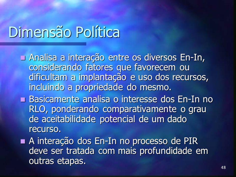 48 Dimensão Política Analisa a interação entre os diversos En-In, considerando fatores que favorecem ou dificultam a implantação e uso dos recursos, i