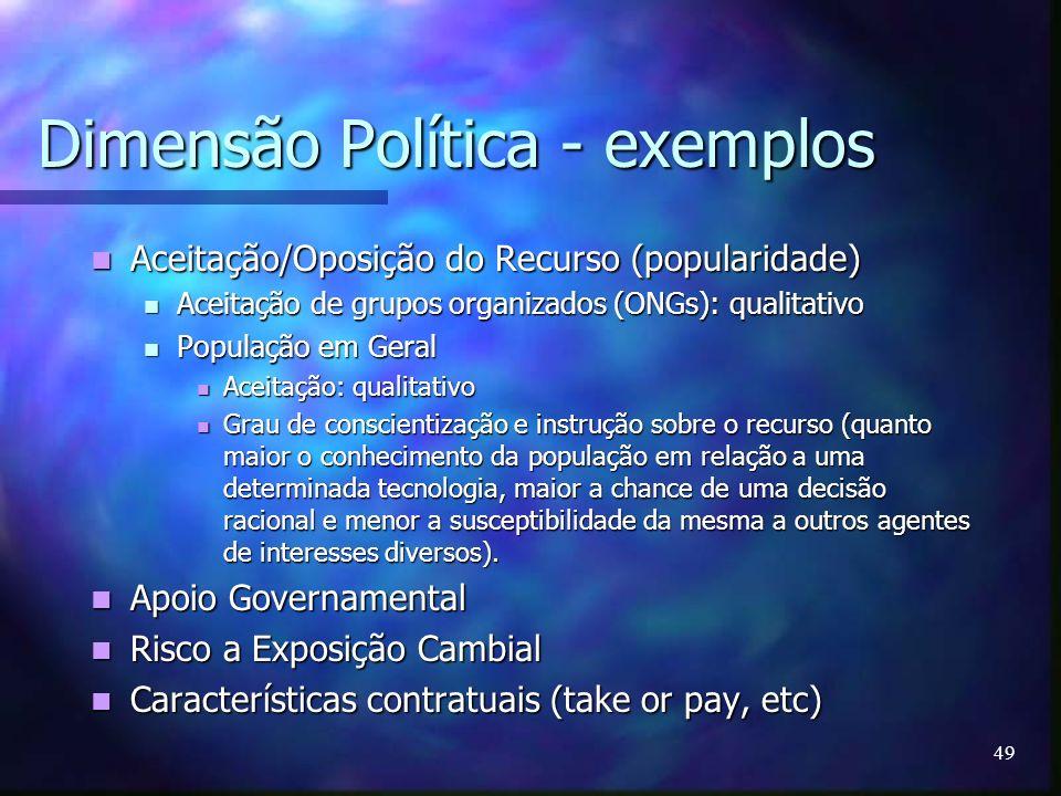 49 Dimensão Política - exemplos Aceitação/Oposição do Recurso (popularidade) Aceitação/Oposição do Recurso (popularidade) Aceitação de grupos organiza