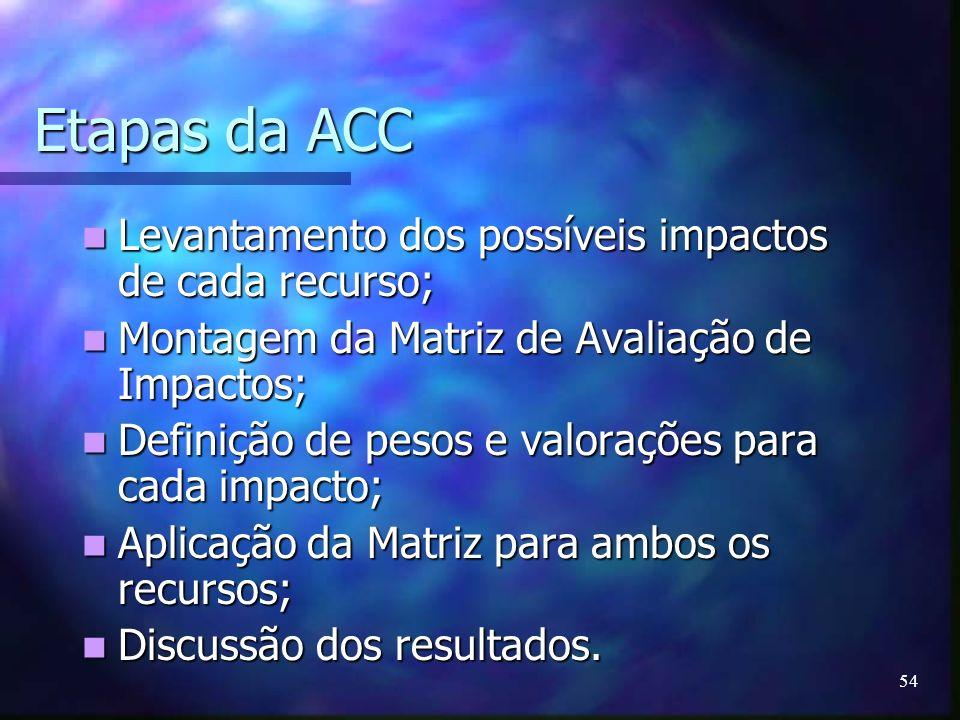 54 Etapas da ACC Levantamento dos possíveis impactos de cada recurso; Levantamento dos possíveis impactos de cada recurso; Montagem da Matriz de Avali