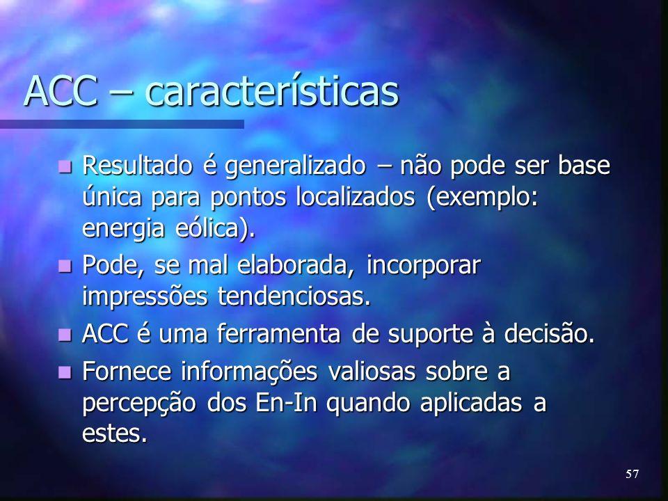 57 ACC – características Resultado é generalizado – não pode ser base única para pontos localizados (exemplo: energia eólica). Resultado é generalizad
