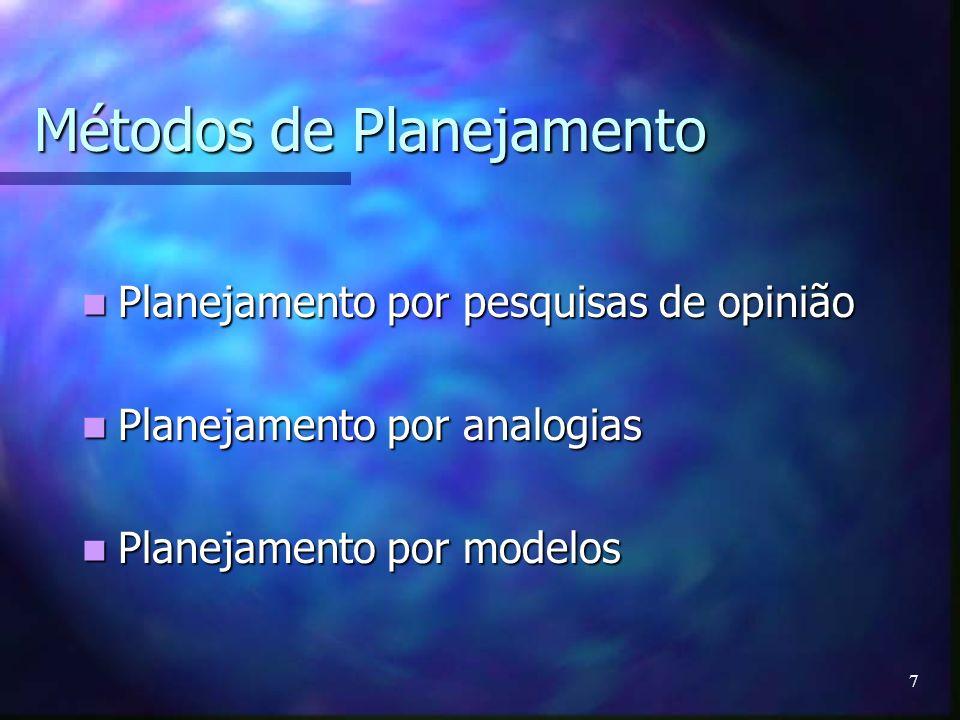 7 Métodos de Planejamento Planejamento por pesquisas de opinião Planejamento por pesquisas de opinião Planejamento por analogias Planejamento por anal