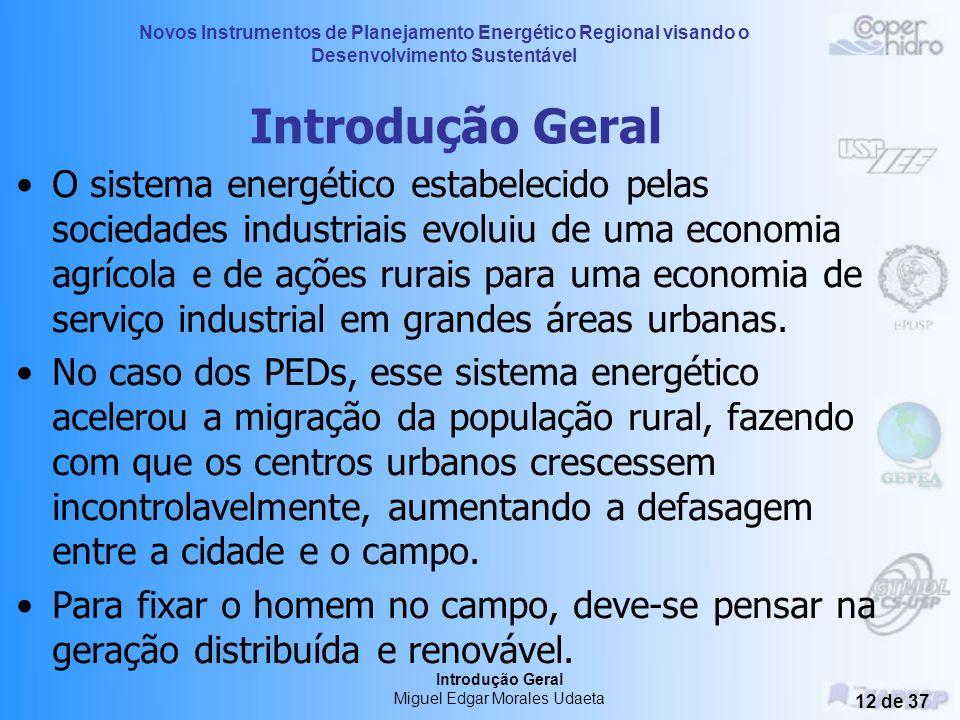 Novos Instrumentos de Planejamento Energético Regional visando o Desenvolvimento Sustentável Introdução Geral Miguel Edgar Morales Udaeta 11 de 37 Int