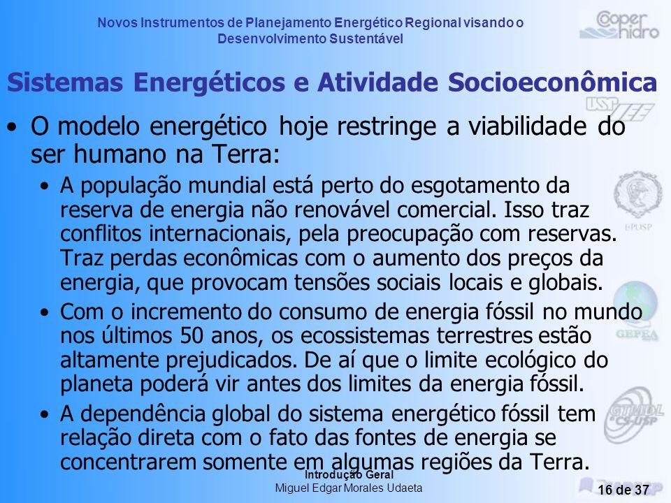 Novos Instrumentos de Planejamento Energético Regional visando o Desenvolvimento Sustentável Introdução Geral Miguel Edgar Morales Udaeta 15 de 37 Sis