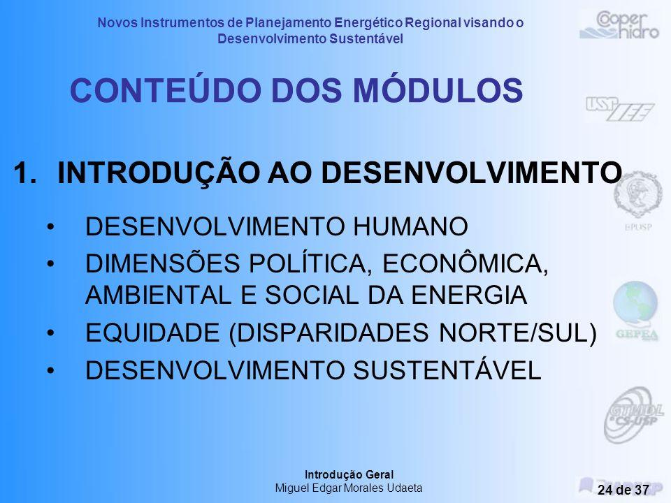 Novos Instrumentos de Planejamento Energético Regional visando o Desenvolvimento Sustentável Introdução Geral Miguel Edgar Morales Udaeta 23 de 37 Con