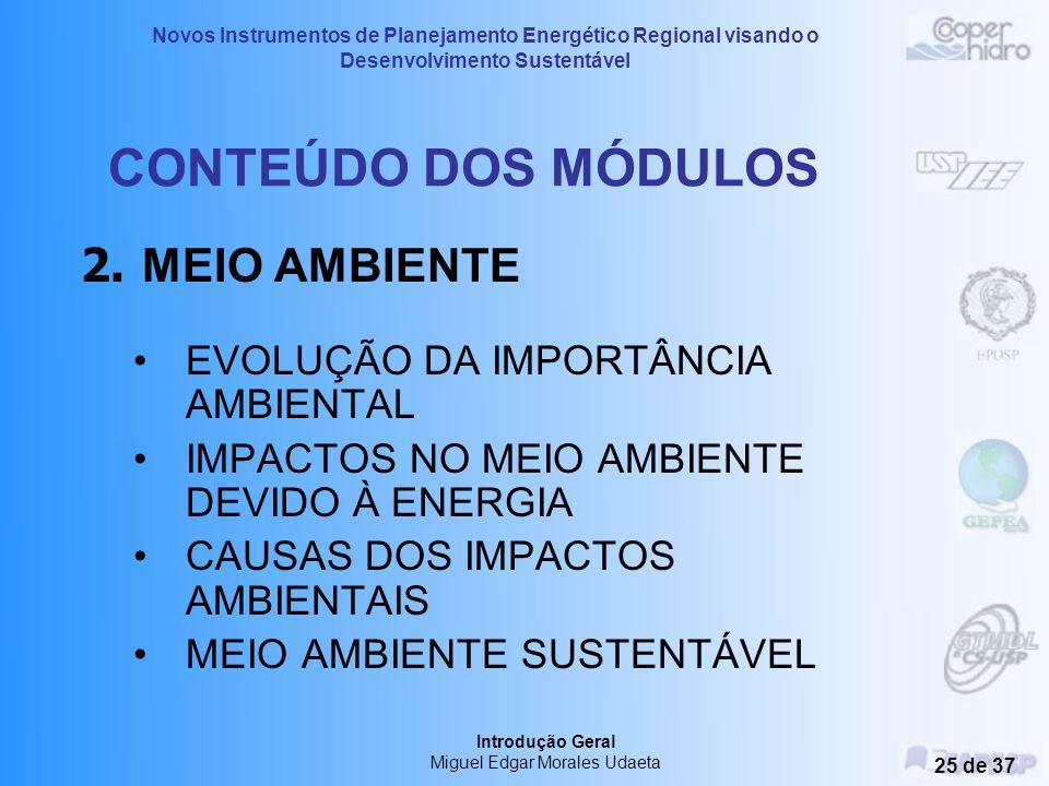 Novos Instrumentos de Planejamento Energético Regional visando o Desenvolvimento Sustentável Introdução Geral Miguel Edgar Morales Udaeta 24 de 37 CON