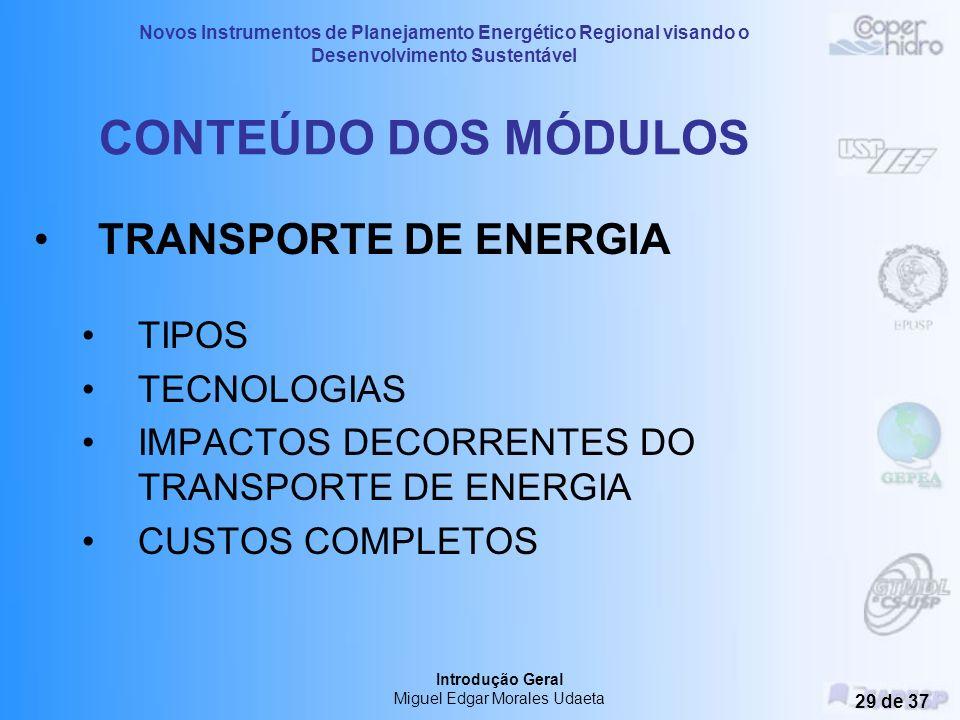 Novos Instrumentos de Planejamento Energético Regional visando o Desenvolvimento Sustentável Introdução Geral Miguel Edgar Morales Udaeta 28 de 37 CON