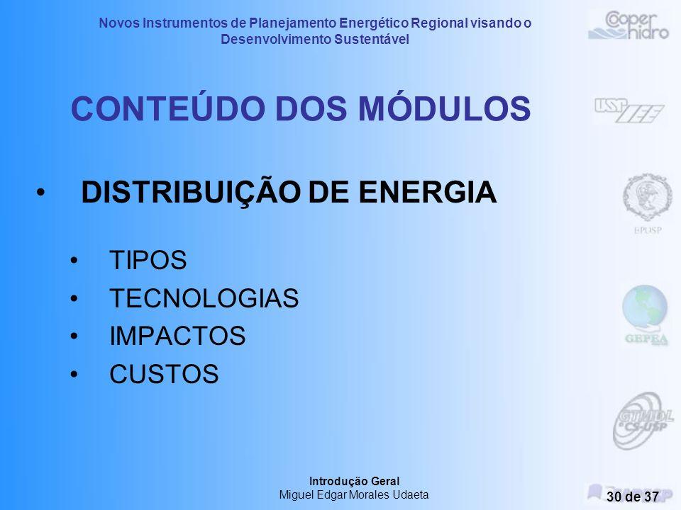 Novos Instrumentos de Planejamento Energético Regional visando o Desenvolvimento Sustentável Introdução Geral Miguel Edgar Morales Udaeta 29 de 37 CON