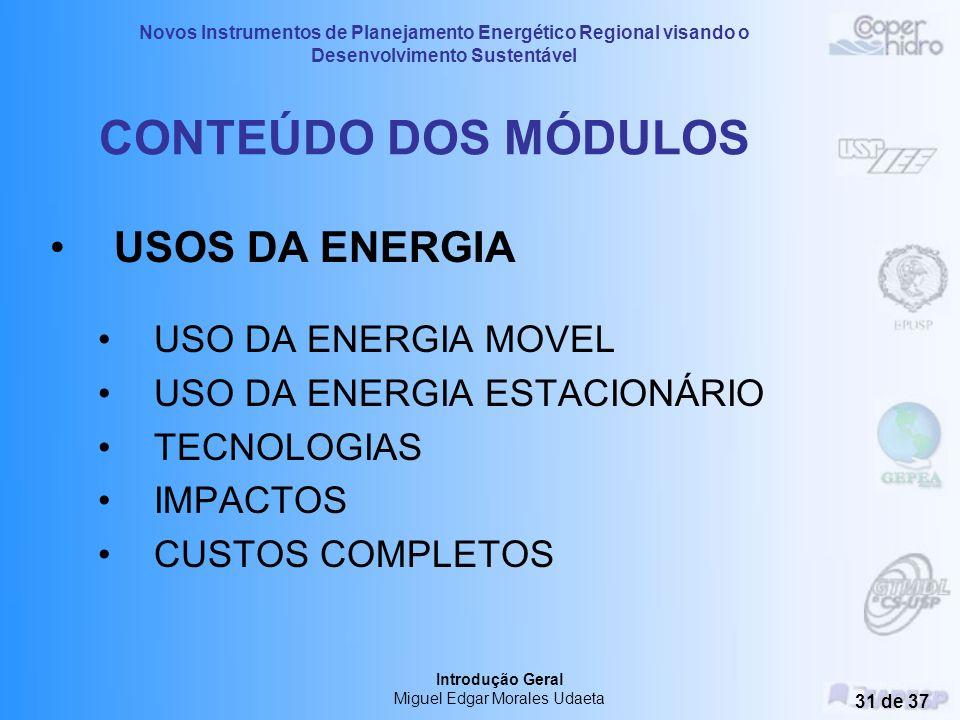 Novos Instrumentos de Planejamento Energético Regional visando o Desenvolvimento Sustentável Introdução Geral Miguel Edgar Morales Udaeta 30 de 37 CON