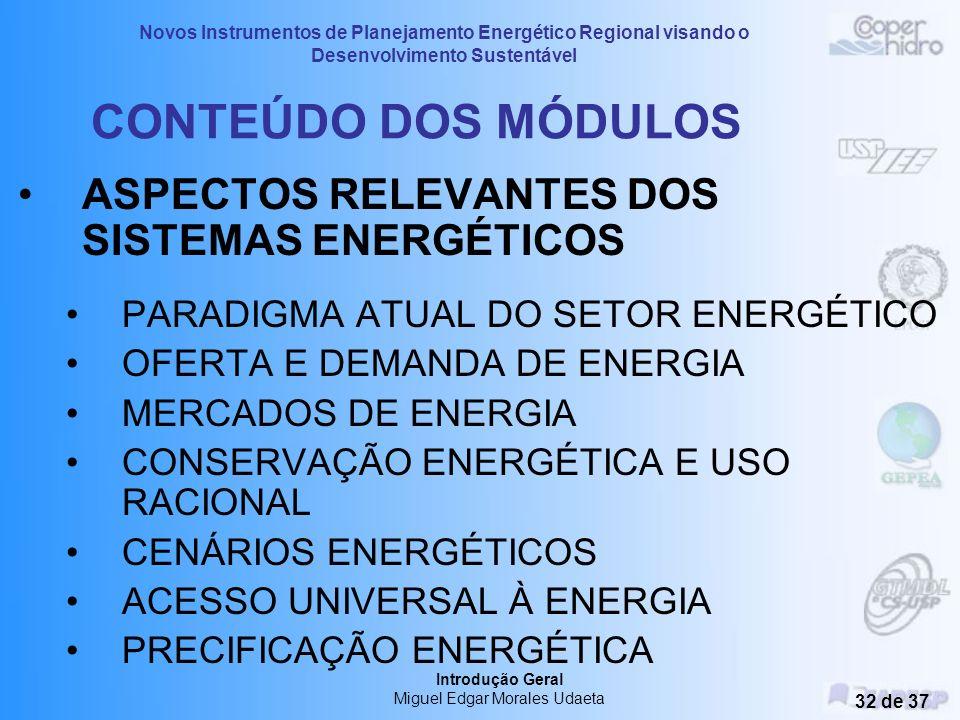 Novos Instrumentos de Planejamento Energético Regional visando o Desenvolvimento Sustentável Introdução Geral Miguel Edgar Morales Udaeta 31 de 37 CON