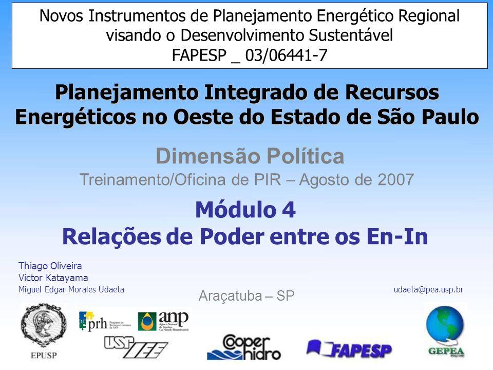 Planejamento Integrado de Recursos Energéticos no Oeste do Estado de São Paulo Dimensão Política Treinamento/Oficina de PIR – Agosto de 2007 Araçatuba – SP Novos Instrumentos de Planejamento Energético Regional visando o Desenvolvimento Sustentável FAPESP _ 03/06441-7 Módulo 4 Relações de Poder entre os En-In Thiago Oliveira Victor Katayama Miguel Edgar Morales Udaeta udaeta@pea.usp.br