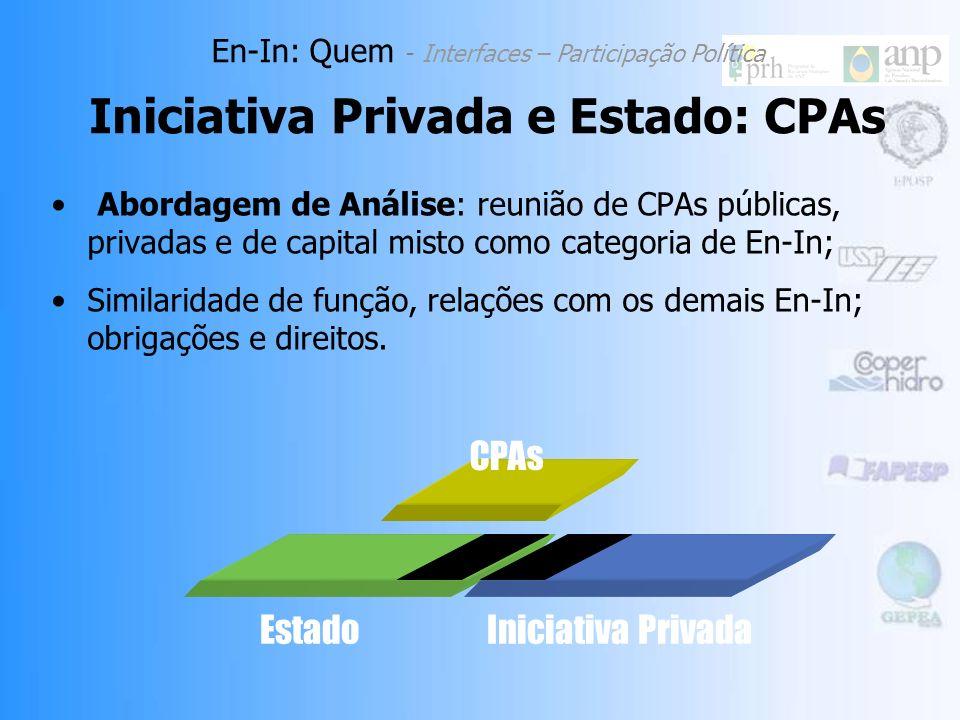 Abordagem de Análise: reunião de CPAs públicas, privadas e de capital misto como categoria de En-In; Similaridade de função, relações com os demais En-In; obrigações e direitos.