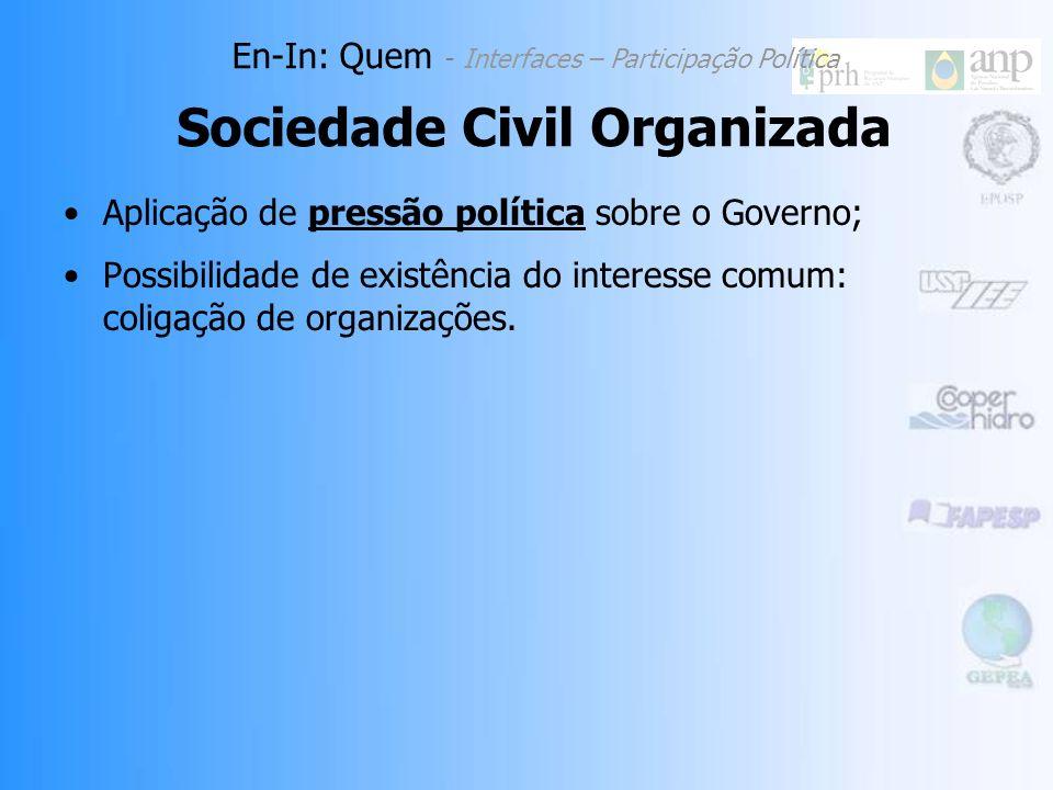 Aplicação de pressão política sobre o Governo; Possibilidade de existência do interesse comum: coligação de organizações.