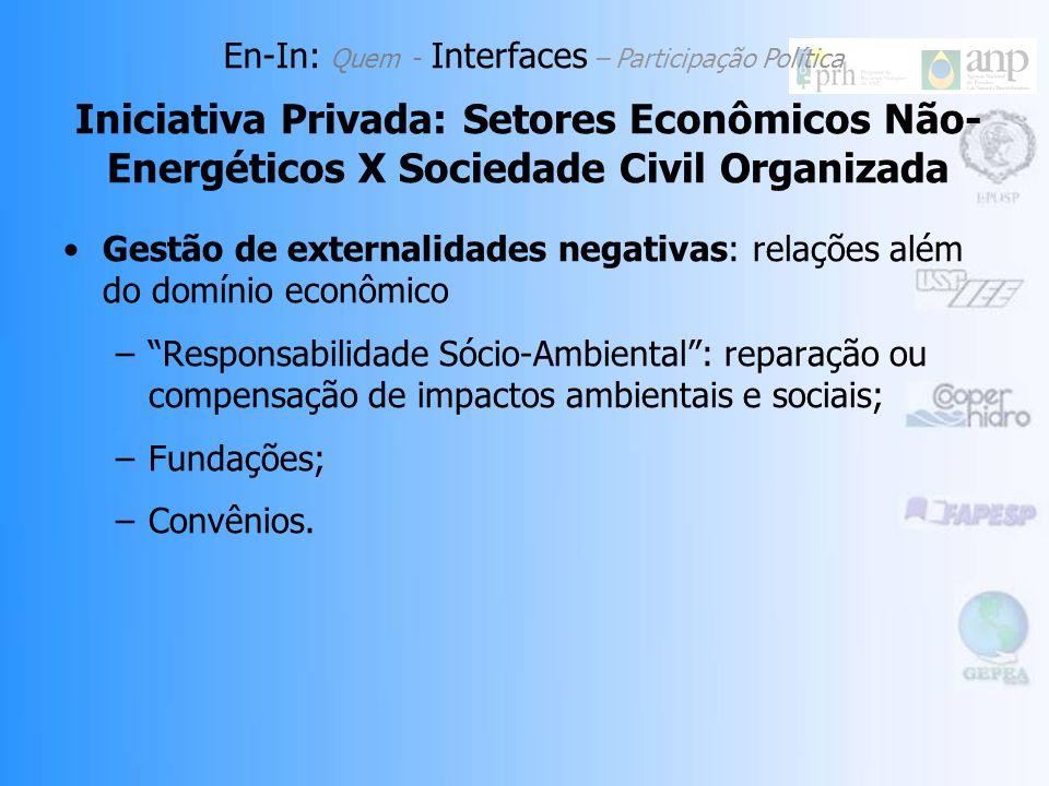 Gestão de externalidades negativas: relações além do domínio econômico –Responsabilidade Sócio-Ambiental: reparação ou compensação de impactos ambientais e sociais; –Fundações; –Convênios.