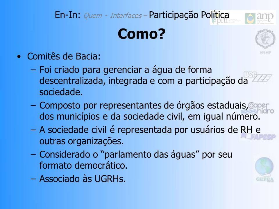 Comitês de Bacia: –Foi criado para gerenciar a água de forma descentralizada, integrada e com a participação da sociedade.