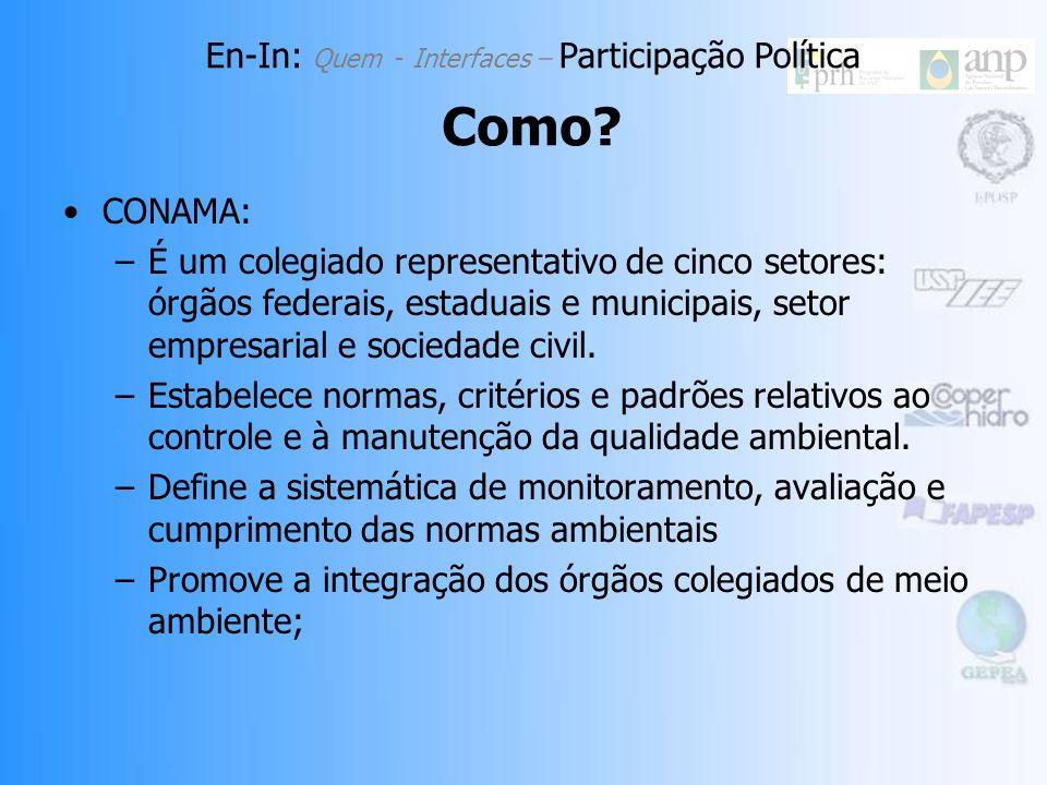 CONAMA: –É um colegiado representativo de cinco setores: órgãos federais, estaduais e municipais, setor empresarial e sociedade civil.