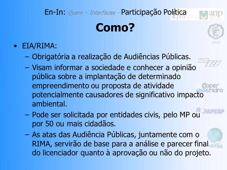 EIA/RIMA: –Obrigatória a realização de Audiências Públicas.