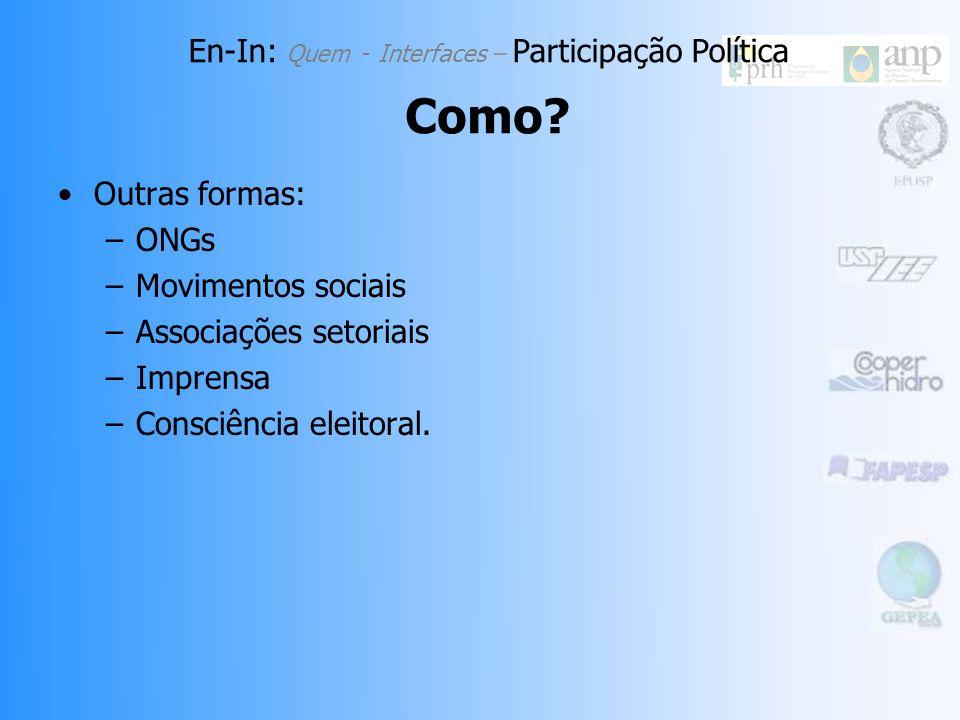 En-In: Participação Política Como? Casas legislativas: –Acompanhamento constante dos trâmites e do posicionamento dos parlamentares. –Comissões de Leg