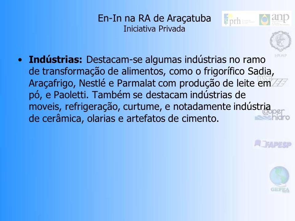 En-In na RA de Araçatuba Iniciativa Privada Indústrias: Destacam-se algumas indústrias no ramo de transformação de alimentos, como o frigorífico Sadia, Araçafrigo, Nestlé e Parmalat com produção de leite em pó, e Paoletti.