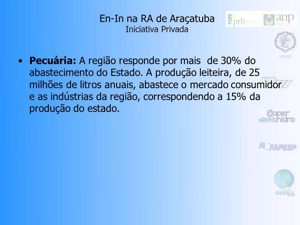 En-In na RA de Araçatuba Iniciativa Privada Indústrias: Destacam-se algumas indústrias no ramo de transformação de alimentos, como o frigorífico Sadia