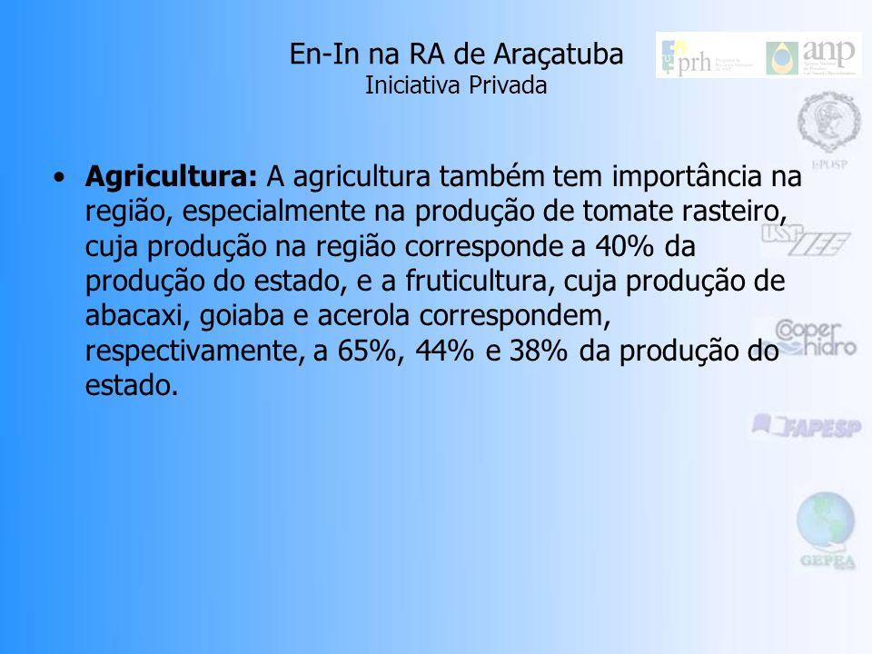 En-In na RA de Araçatuba Iniciativa Privada Agricultura: A agricultura também tem importância na região, especialmente na produção de tomate rasteiro, cuja produção na região corresponde a 40% da produção do estado, e a fruticultura, cuja produção de abacaxi, goiaba e acerola correspondem, respectivamente, a 65%, 44% e 38% da produção do estado.