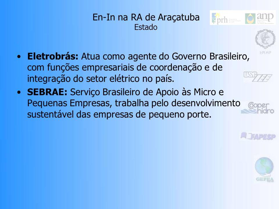 En-In na RA de Araçatuba Estado Eletrobrás: Atua como agente do Governo Brasileiro, com funções empresariais de coordenação e de integração do setor elétrico no país.