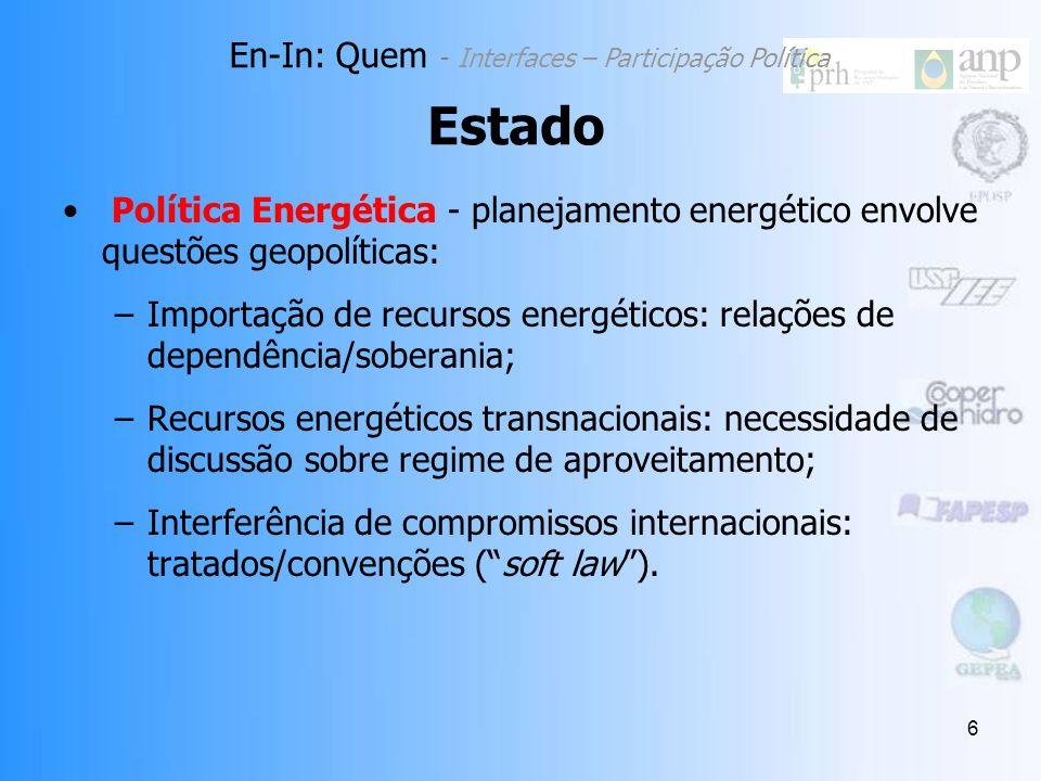 6 Política Energética - planejamento energético envolve questões geopolíticas: –Importação de recursos energéticos: relações de dependência/soberania; –Recursos energéticos transnacionais: necessidade de discussão sobre regime de aproveitamento; –Interferência de compromissos internacionais: tratados/convenções (soft law).