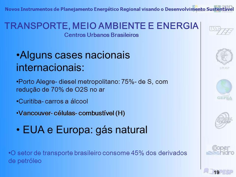 Novos Instrumentos de Planejamento Energético Regional visando o Desenvolvimento Sustentável 18 TRANSPORTE, MEIO AMBIENTE E ENERGIA Centros Urbanos Br