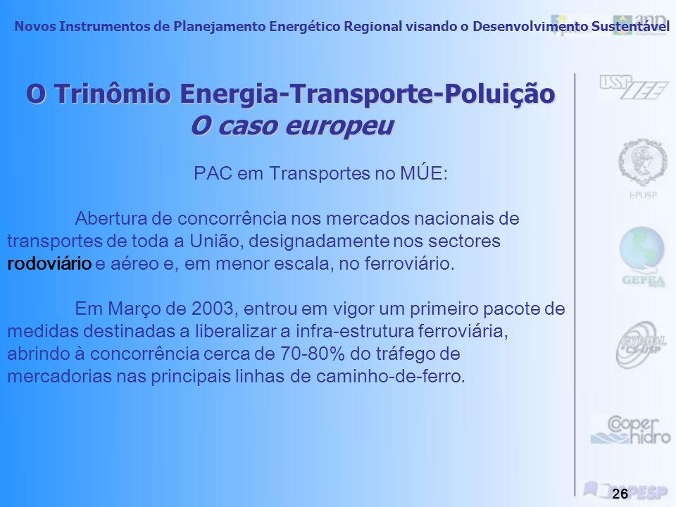 Novos Instrumentos de Planejamento Energético Regional visando o Desenvolvimento Sustentável 25 O Trinômio Energia-Transporte-Poluição O caso europeu O sector dos transportes gera 10% da riqueza da EU e justifica mais de dez milhões de postos de trabalho.