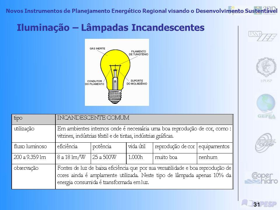 Novos Instrumentos de Planejamento Energético Regional visando o Desenvolvimento Sustentável 30 Principais Usos Finais Estacionários Iluminação Força
