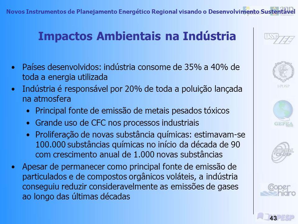 Novos Instrumentos de Planejamento Energético Regional visando o Desenvolvimento Sustentável 42 Uso final XPoluição ÁguaArSoloSonoraVisualLuminosaRadi
