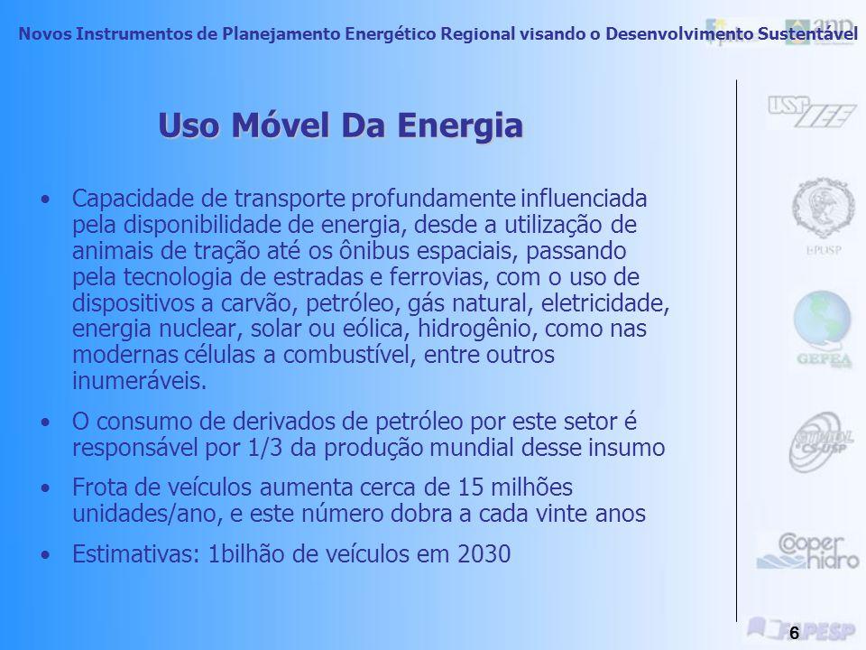 Novos Instrumentos de Planejamento Energético Regional visando o Desenvolvimento Sustentável 5 Uso Móvel Da Energia Principal Forma: uso de combustíveis para o transporte.
