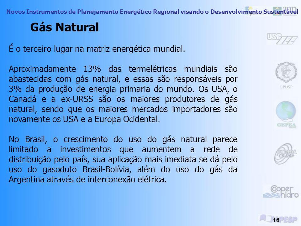 Novos Instrumentos de Planejamento Energético Regional visando o Desenvolvimento Sustentável 15 Segundo lugar na matriz energética mundial, devido pri