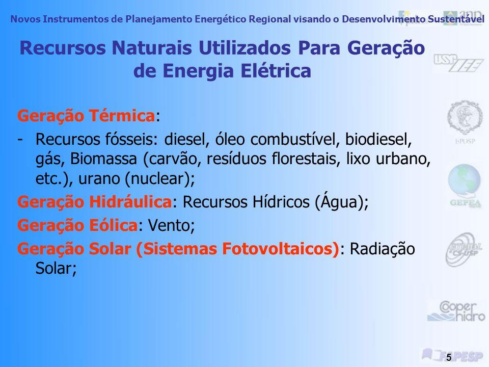 Novos Instrumentos de Planejamento Energético Regional visando o Desenvolvimento Sustentável 5 Recursos Naturais Utilizados Para Geração de Energia Elétrica Geração Térmica: -Recursos fósseis: diesel, óleo combustível, biodiesel, gás, Biomassa (carvão, resíduos florestais, lixo urbano, etc.), urano (nuclear); Geração Hidráulica: Recursos Hídricos (Água); Geração Eólica: Vento; Geração Solar (Sistemas Fotovoltaicos): Radiação Solar;