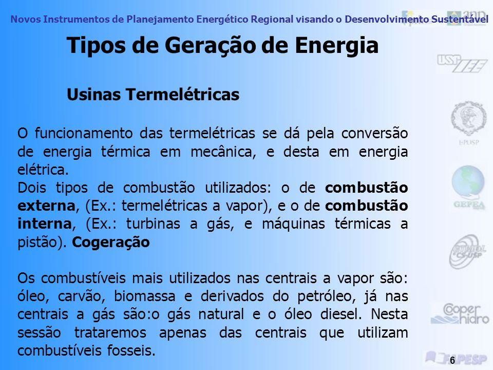 Novos Instrumentos de Planejamento Energético Regional visando o Desenvolvimento Sustentável 6 Tipos de Geração de Energia Usinas Termelétricas O funcionamento das termelétricas se dá pela conversão de energia térmica em mecânica, e desta em energia elétrica.